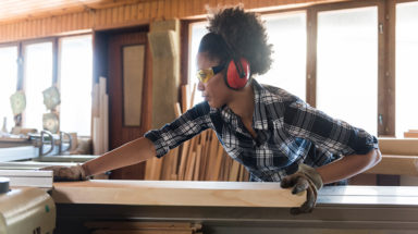 Female carpenter in her workshop